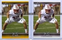 "T.J. WATT 2017 LEAF DRAFT GOLD ""2"" CARD ROOKIE LOT! WISCONSIN BADGERS/STEELERS!"