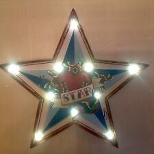 LARGE RETRO STAR LIGHT UP CARNIVAL MARQUEE CIRCUS SIGN WALL ART LIGHT LED TATTOO