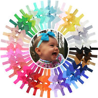 40pcs 4 Inch Grosgrain Ribbon Hair Bows Headbands for Baby Girls Infants Toddler