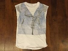Lu Lu By Miss Grant Designer Girls T-shirt with Denim Vest & studs print Age 10