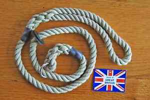 Dog slip lead with rubber stopper. Rope 8mm thick. Two lengths / three colours