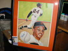 WILLIE MAYS signed AUTO huge FRAMED matted BASEBALL LITHOGRAPH PHOTO #rd 436 JSA