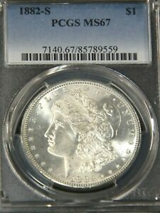 1882-S Morgan Silver Dollar PCGS MS67 White Semi Mirror Great Luster #56D