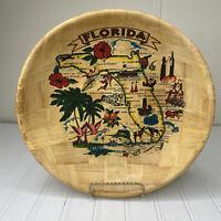 Vintage Florida Map Tourist Souvenir Bamboo Fruit Salad Bowl