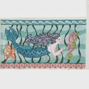 Brenda Stofft Handpainted Needlepoint Canvas Mermaid swimming with seahorse