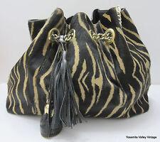 Black Tan Roberta Gandolfi Italy Leather Cowhide Shoulder Purse Handbag Western