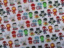 PRINTED CANVAS FABRIC MATERIAL superhero pattern HAIR BOW MAKING A4 SHEETS