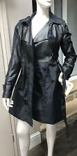 DKNY double Breasted Trench Coat Rain Mac Uk 10 Black Leather Navy Belted Jacket