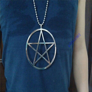 """Star charm Super large 4"""" Star of David pentacle S.steel pendant necklace 36inch"""