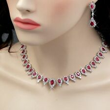 White Gold Plated Red Cubic Zirconia Necklace Earrings Wedding Jewelry Set 00848