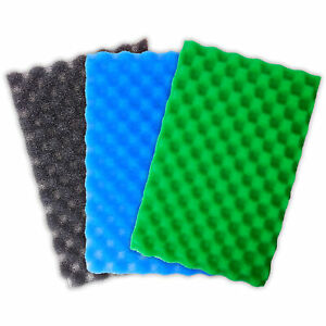 POND FILTER FOAM MEDIA SET OF 3 FINE MEDIUM COARSE SPONGE PADS FISH 4 DIFF SIZES