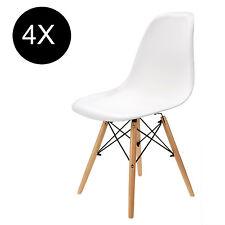 4x chaises à manger blanches tendance design rétro eiffel chaise en bois