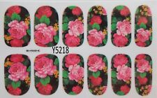 Nail Foils Wrap Black BG with Flowers Full Cover Self Adhesive 12 wraps