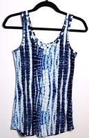 No boundaries White/Blue Tie Dye Print Tank Top Size Medium (7-9)