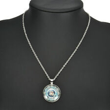 Vintage Mandala CABOCHON Glass Tibet Silver Chain Locket Pendant Necklace