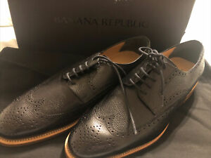 New In Box!Banana Republic Wingtip Oxfords Black Pebbled Leather SZ8.5 MSRP $350
