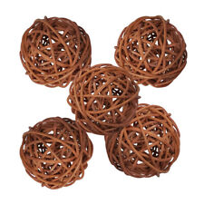 5Pcs Wicker Rattan Balls Decorative Orbs DIY Craft Wedding Home Decoration