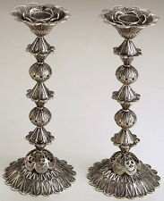 Flower Sterling Silver Filigree Shabbat Candle Holders Sticks Judaica Jewish Art