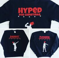 Kids Boys Christmas Jumper Day Sweatshirt Flossing Through The Snow Floss Dabbin