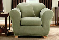 Stretch Stripe 2 Piece Chair Slipcover Box Cushion in Green
