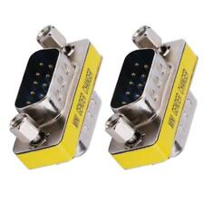2pcs DB9 Male to Male Adapter Gender Changer Serial RS232 Coupler Straight