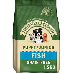 1.5kg James Wellbeloved Puppy/Junior Dry Dog Food Grain Free Fish