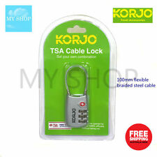 KORJO TSA 3 DIAL LUGGAGE COMBINATION  LOCK  WITH CABLE SHACKLE -SILVER