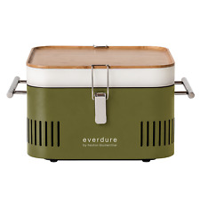 Everdure by Heston Blumenthal CUBE PORTABLE CHARCOAL BARBEQUE Bamboo Tray KHAKI