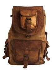 "New Genuine Goat Leather 16"" Back Pack Rucksack Travel Bag For Men's and Women"