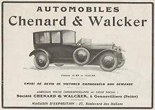 Y9987 Automobiles CHENARD & WALCKER - Pubblicità d'epoca - 1919 old advertising