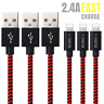 10Ft 3PACK USB Lightning Cable Heavy Duty iPhone 6S 7 8 X Charger Charging Cord