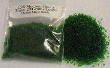 15/0 MEDIUM GREEN TRANSPARENT 20 GRAMS LOOSE CZECH GLASS SEED BEADS