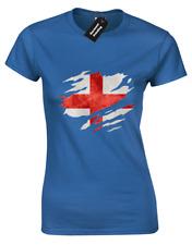 ENGLAND FLAG SLASH LADIES T SHIRT PATRIOTIC FOOTBALL FAN WOMENS COOL (COLOUR)
