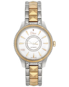 DIOR VIII MONTAIGNE GOLD & STEEL AUTOMATIC LADIES WATCH CD1525I0M001 MSRP $13800