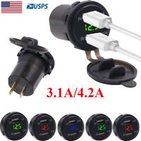 12V Car Cigarette Lighter Socket Splitter Dual USB Charger Adapter LED Voltmeter