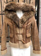 Mackage Shearling Sheepskin Leather Raccoon Fur Collar Winter Coat Women's Sz XS