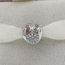 Pink Disney Minnie Mouse Head Charm - Silver Tone - Suits Pandora Bracelet -Gems