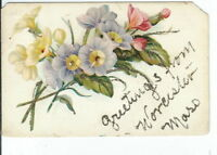 CG-111 MA, Worcester, Greetings from, Divided Back Postcard Mica Glittered