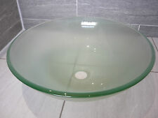 NEW LARGE ROUND 42cm FROSTED GLASS BASIN BOWL SINK COUNTERTOP CLOAKROOM BATHROOM