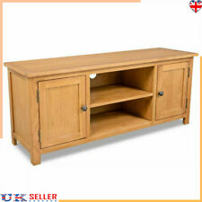 Solid Oak TV Unit Stand Wood Television Wooden Media Cabinet With Shelves 2 Door