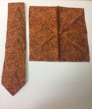 Venturi Uomo Silk Tie Orange Matching Pocket Square Hand Made NWT
