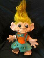 "Rare Vintage 1964 Dam Things Troll Doll 12"" Orig Hair w/ Org and Grn Felt Clths"