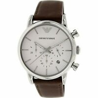 Emporio Armani AR1846 Classic 41MM Men's Chronograph Brown Leather Watch