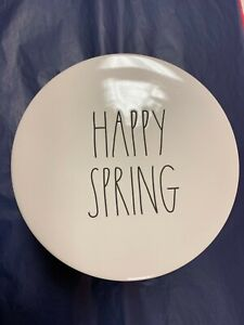 """New Rae Dunn Pedestal Cake Stand """"Happy Spring"""" Artisan Collection Magenta"""