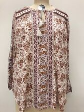 Lucky Brand Womens Beaded Printed Peasant Top Blouse Size 2X