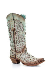 Corral Women's Mint Glitter Inlay & Studded Western Boots C3332