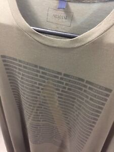 Original Armani Jeans T-Shirt Sz XL Slim Fit Green Exc Pre-owned Cond