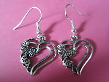 Vintage Look Silver Tone Love Heart Entwined Flower Charm Earrings New