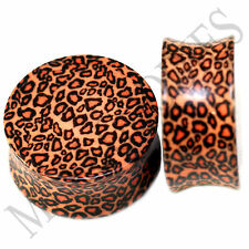 """0200 Double Flare Acrylic Leopard Cheetah Print Saddle Plugs 1"""" One Inch 25mm"""