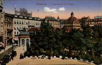 Wiesbaden Hessen alte Postkarte 1917 gelaufen Partie am Kochbrunnen mit Anlagen